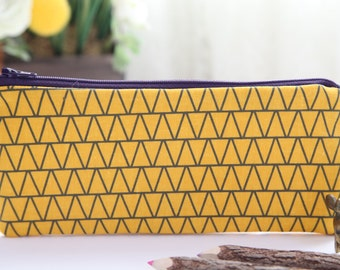 Hello Yellow Pencil Pouch, Pencil Case, FREE SHIPPING with another purchase, Pencil Bag, Zipper Pouch, Gadget Case, School Supplies