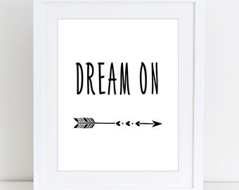 Arrows, Dream on, Scandinavian, Kids print, Nursery, Kids room, Printable Wall Art, Childrens print, Digital print, Instant Download 8x10