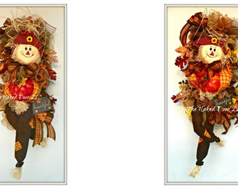 Fall Scarecrow Wreath - Scarecrow Wreath - Scarecrow Decor - Scarecrow Mesh Wreath - Thanksgiving Wreath - Scarecrow Sway - Fall Swag