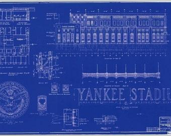 1927 Baseball Yankee Stadium Blueprint Reproduction and New Yankee Stadium Blueprint Style Print