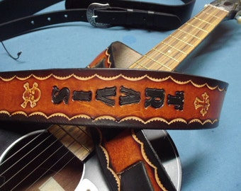 """CROSS and SKULL  ~~~~ 2"""" Wide GUITAR Straps~~Genuine Leather~~Comfortable & Adjustable~~Name Engraved Free! Mahogany,Black,Tan... More!"""