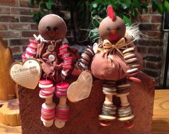 Vintage Button Dolls Turkey Gingerbread Girl Thanksgiving