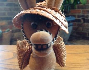 Retro Flocked Donkey Burro Mule Straw Hat