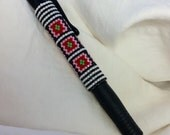 Granny Squares Pen Pink red Black Green Beaded pen cover sleeve G2 peyote hand bead weaving gift