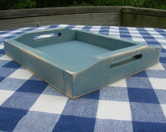 Painted Wood Serving/Display Tray with Handles - Blue, Distressed