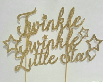 Twinkle Twinkle Little Star cake topper -first birthday- cakesmash- birthday cake- gold glitter READY TO SHIP - Sample product