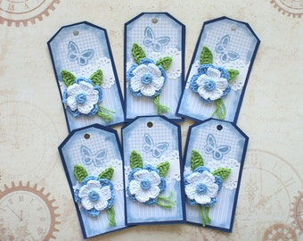 Tags or Package Labels with crochet flower (set of 3)