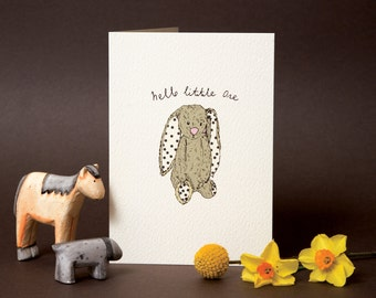 New baby card, Hello little one bunny card,new arrival card