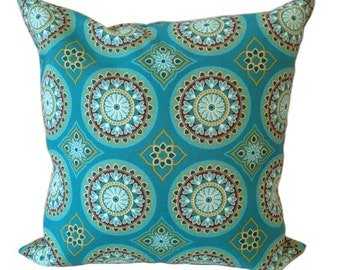 Outdoor Sundial Print Cushion Cover in Teal