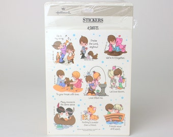 Vintage 1992 Precious Moments Set of 4 Sticker Sheets - By Hallmark - Collectible