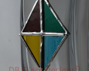 Handmade Stained Glass Diamond Decoration
