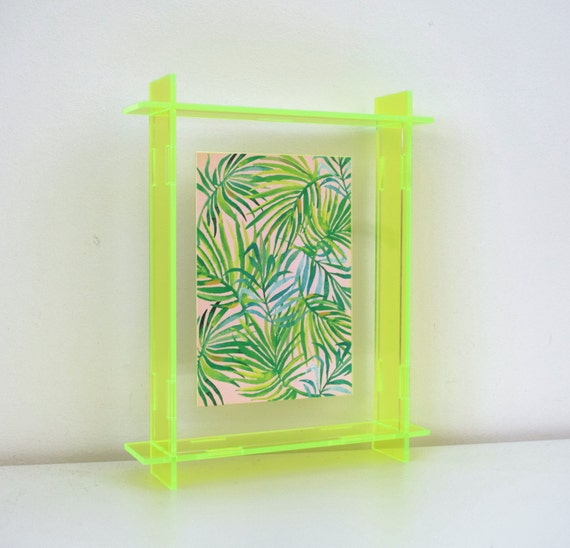 Acrylic Box Picture Frames : Small acrylic box frame neon yellow a perspex