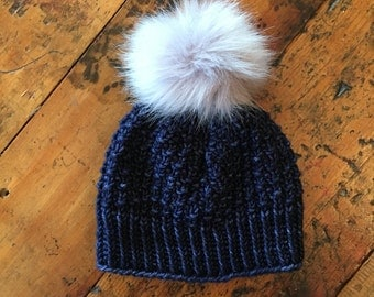 Hand-Knit Toddler Hat in Ink