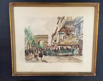 Herbelot Paris Les Champs Elysees Watercolor Print; Signed Herbelot Print; Vintage Herbelot; Numbered Herbelot Print