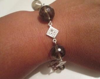 With smoky quartz 925 silver bracelet