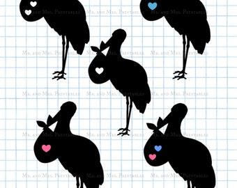 Pregnant clipart,Stork clipart, baby boy girl, pregnancy image, Stork images,Stork silhouette,black whithe, blue pink, baby annoucement