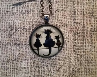 Cat Necklace, Black Cat Necklace, Cat Jewelry, 3 Cats, Kitty Necklace, Kitty Jewelry