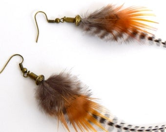 Feather earrings Eyota - Ethnic Feather - Ethnic Jewelry - Indian Jewelry - grizzly