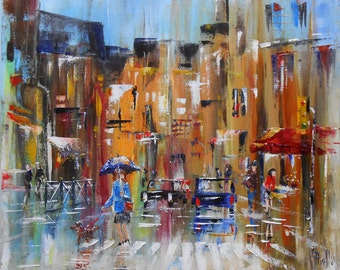 "Painting ""Umbrellas in town"""