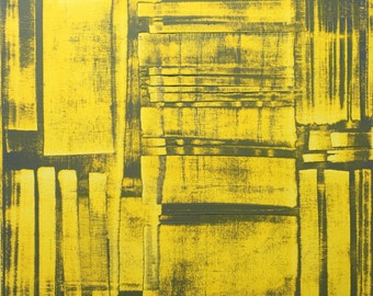 Abstract / contemporary painting unique yellow grey