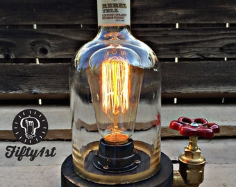 "Rustic Desk lamp ""Rebel"", Reclaimed wood light, Industrail table lamp"