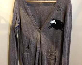 Minor Threat grey distressed vintage cardigan sweater