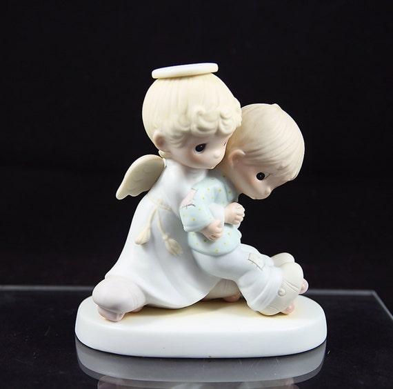 """Jonathan and David Figurine 1983 Religious Christmas """"He Upholdeth those who Call"""" Collectible"""
