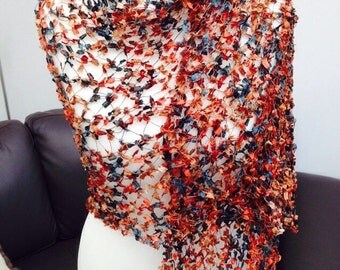 Handmade by Mrs Smith Soft Copper,Dark Green & Dark Blue Wrap/Scarf