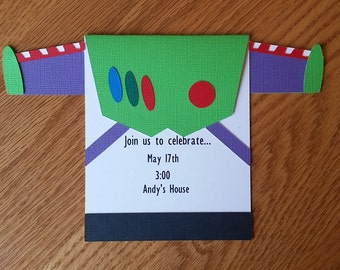 Toy Story Birthday Invitation, Buzz Lightyear Birthday Invitation - Handmade, diecut, silhouette, cardstock, Toy Story, birthday invitation