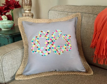 Canvas and Jute Personalized Pillow