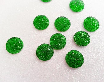 12mm Bright Kelly Green Faux Druzy Cabochon - 10 pcs