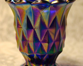 Imperial Glass Toothpick Holder, Iridescent Blue Carnival Glass