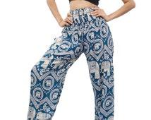Thai Boho Harem Pants/ Hippie Pants/ Yoga Pants Red (Turquoise Q20019)