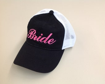 Bride Hat //Bachelorette Party Bride Trucker Mesh Unstructured Hat