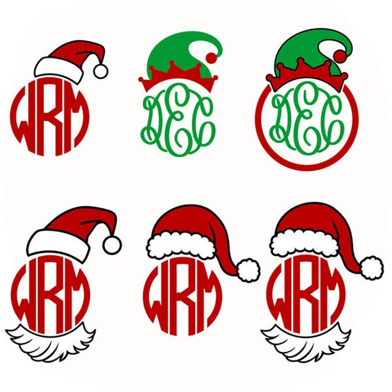 Santa hat elf christmas monogram cuttable design svg dxf eps