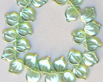 Czech Glass Leaf Beads - Curved Lotus Leaf Bead - 12mm x 15mm - Top Hole Leaf Beads - Various Luster or AB Colors - Qty 15