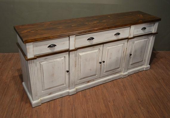 Rustic Solid Wood Distressed White Sideboard / TV Stand