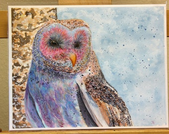 Original Owl Mixed Media Painting