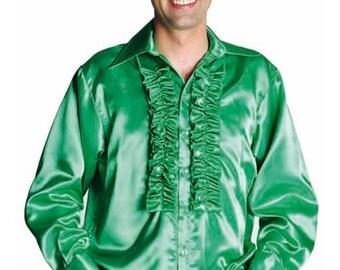 Summer Sale 70's Satin Frilled Front Shirt - Emerald Green