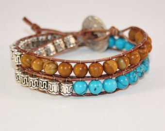 Handmade Leather Wrap Turquoise, Woodstone and Silver Bead Bracelet