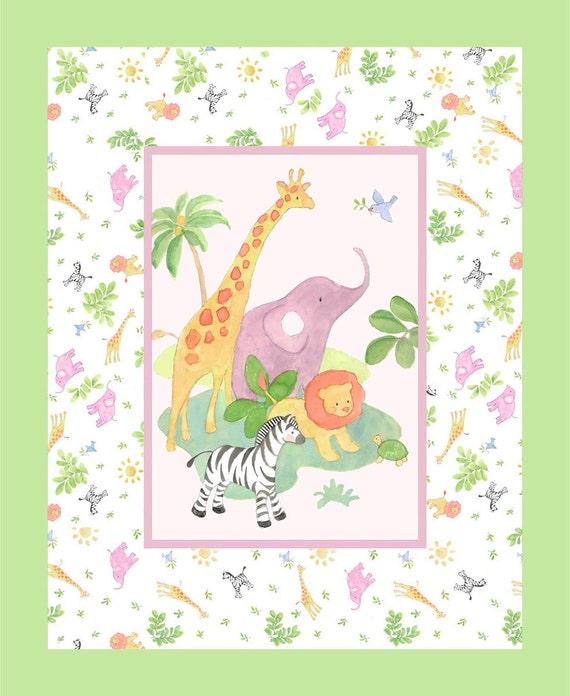 Nursery safari baby fabric panel from springs by for Safari fabric for nursery