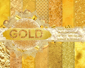 Gold Steamless Pattern Digital Paper Background Set Party Glossy Glitter Metallic Foil Leather Marble Linen Tile Sparkling Textures