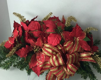 """Red and Gold Pointsettia Headstone Saddle """"Free Shipping"""""""