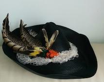 1930 1940 black straw pixie hat -  SALE