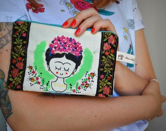 Frida Kahlo, borsellino, bustina, purse, borsellino handmade, zippered pouch