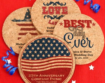Patriotic Round Cork Coasters, Fourth of July Party Decorations, Memorial Day, 4th of July, Summer Decor- Set of 4