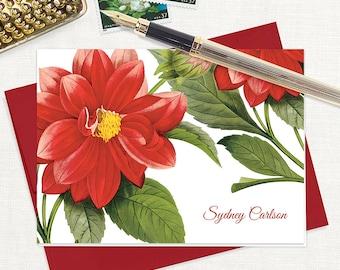 personalized stationery set - RED DAHLIA FLOWER - set of 8 folded note cards - stationary - botanical - floral - red envelopes