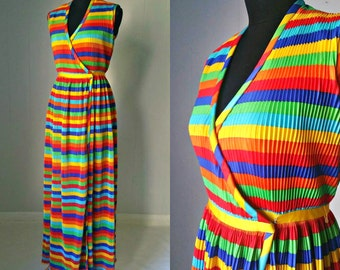 SALE 25% OFF!!! 60s Rainbow Maxi Wrap Dress by Shannon Rodgers For Jerry Silverman || Pleated Psychedelic Dress
