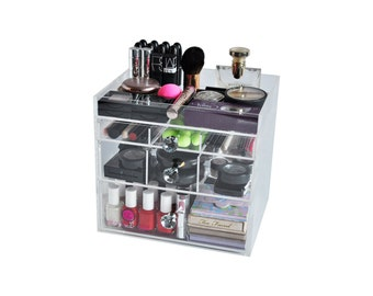 Clear Acrylic Makeup Organizer DazBox Vanity Cosmetic Storage Beauty Drawer BeautyFill Box
