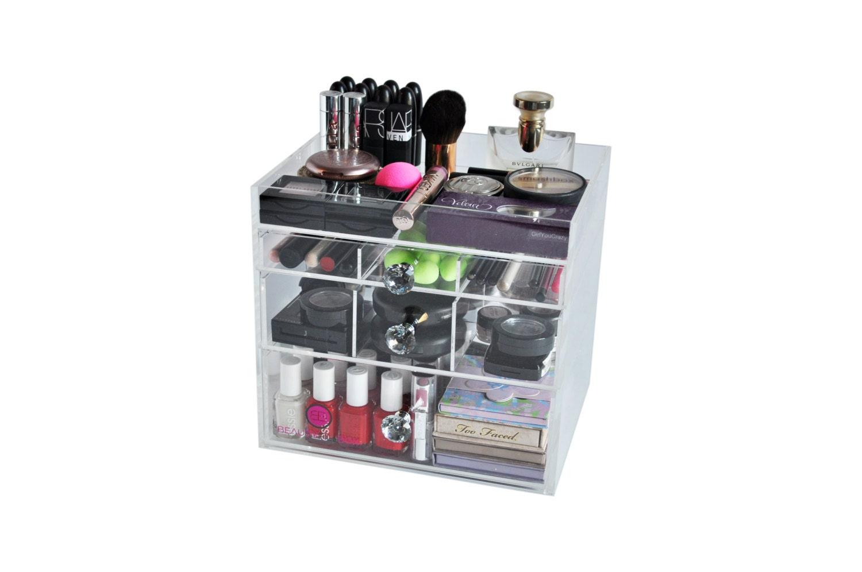 Clear Acrylic Makeup Organizer DazBox Vanity Cosmetic Storage